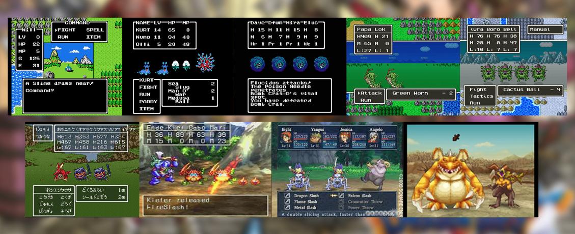 De izquierda a derecha Dragon Quest 1 a DQIX